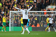 Richard Keogh of Derby County celebrates his side&rsquo;s 2nd goal during the Sky Bet Championship match at Carrow Road, Norwich<br /> Picture by Paul Chesterton/Focus Images Ltd +44 7904 640267<br /> 28/10/2017