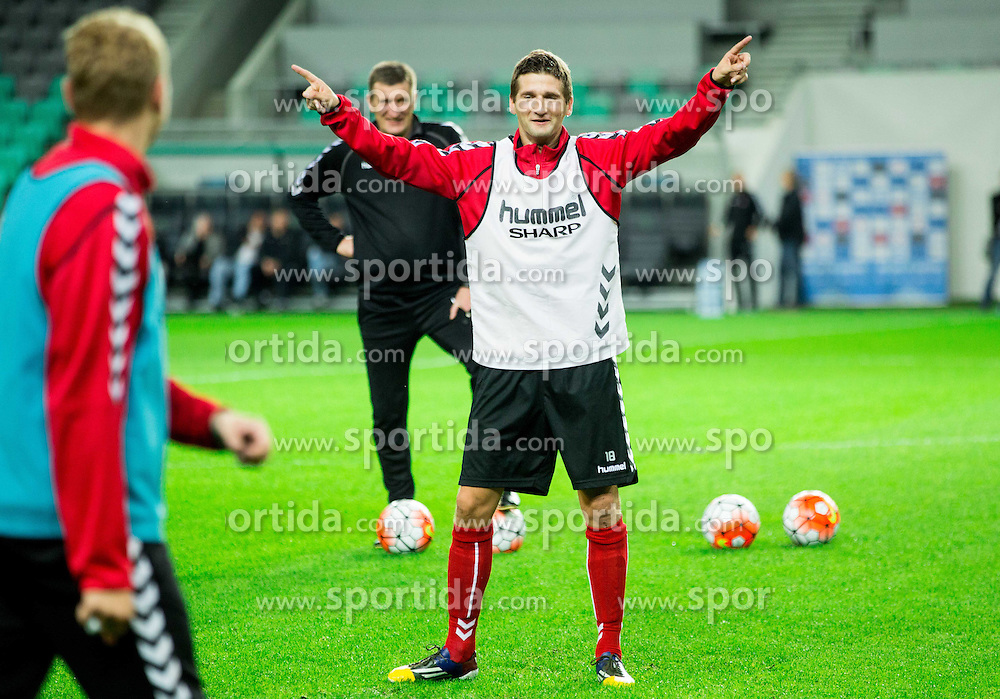 during practice session of Lithuanian National Football team one day before Euro 2016 Qualifying game between Slovenia and Lithuania, on October 8, 2015 in SRC Stozice, Ljubljana Slovenia. Photo by Vid Ponikvar / Sportida