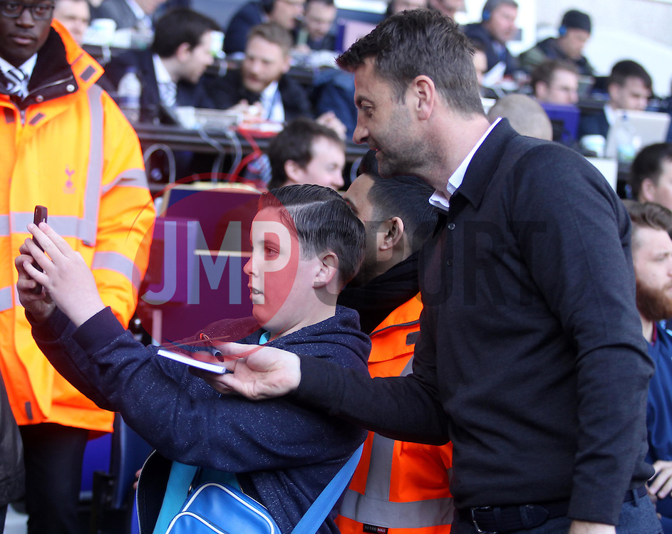 Aston Villa Manager, Tim Sherwood has a selfie taken with a young fan - Photo mandatory by-line: Robbie Stephenson/JMP - Mobile: 07966 386802 - 11/04/2015 - SPORT - Football - London - White Hart Lane - Tottenham Hotspur v Aston Villa - Barclays Premier League