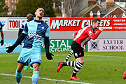 Goal - Pierce Sweeney (2) of Exeter City runs off to celebrate with goalscorer Lloyd James (4) of Exeter City who scored from a free kick to make the score 1-0 during the EFL Sky Bet League 2 match between Exeter City and Wycombe Wanderers at St James' Park, Exeter, England on 10 February 2018. Picture by Graham Hunt.