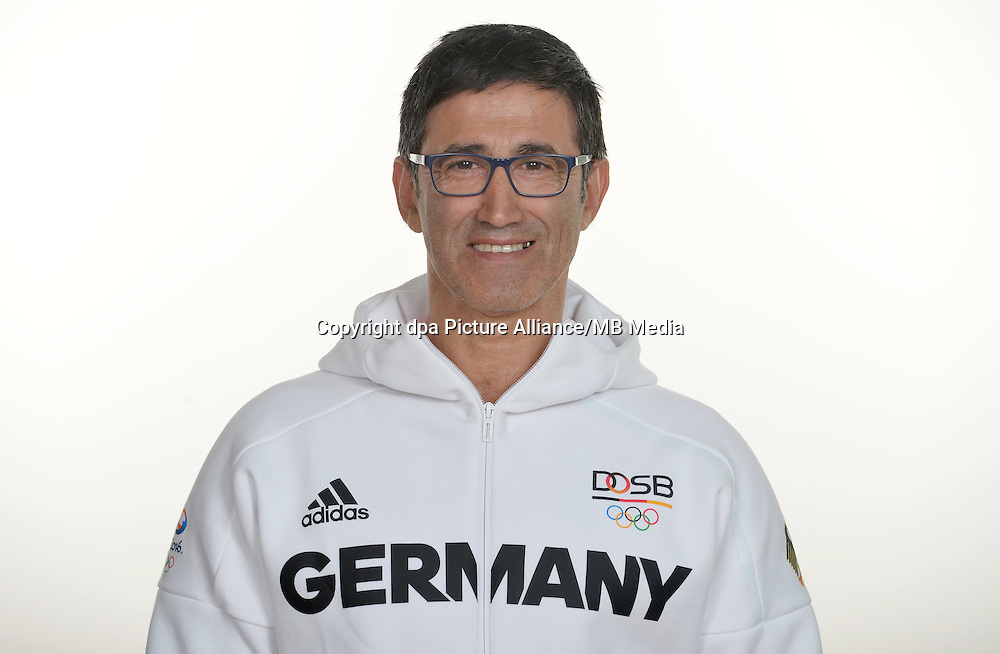 Carlos Esteves poses at a photocall during the preparations for the Olympic Games in Rio at the Emmich Cambrai Barracks in Hanover, Germany. July 26, 2016. Photo credit: Frank May/ picture alliance. | usage worldwide
