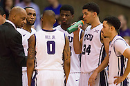 FORT WORTH, TX - JANUARY 28: TCU Horned Frogs head coach Trent Johnson has words with his team during a timeout against the Kansas Jayhawks on January 28, 2015 at Wilkerson-Greines AC in Fort Worth, Texas.  (Photo by Cooper Neill/Getty Images) *** Local Caption *** Trent Johnson