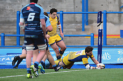 Wynand Olivier of Worcester Warriors scores a try - Mandatory by-line: Dougie Allward/JMP - 04/02/2017 - RUGBY - BT Sport Cardiff Arms Park - Cardiff, Wales - Cardiff Blues v Worcester Warriors - Anglo Welsh Cup