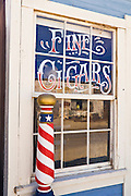 Barber shop window at the ghost town of Randsburg, California