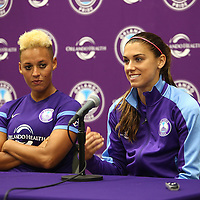 ORLANDO, FL - APRIL 23: Lianne Sanderson (L) and Alex Morgan of the Orlando Pride speak with the media after winning a NWSL soccer match against the Houston Dash at the Orlando Citrus Bowl on April 23, 2016 in Orlando, Florida. The Orlando Pride won the game 3-1.  (Photo by Alex Menendez/Getty Images) *** Local Caption *** Alex Morgan; Lianne Sanderson