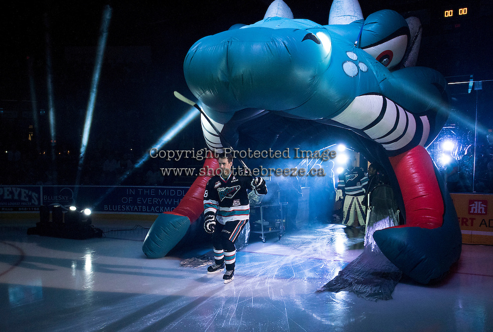KELOWNA, CANADA - SEPTEMBER 25: Joe Gatenby #28 of Kelowna Rockets enters the ice during the season home opener against the Kamloops Blazers on September 25, 2015 at Prospera Place in Kelowna, British Columbia, Canada.  (Photo by Marissa Baecker/Shoot the Breeze)  *** Local Caption *** Joe Gatenby