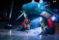 KELOWNA, CANADA - SEPTEMBER 25: Joe Gatenby #28 of Kelowna Rockets enters the ice during the season home opener against the Kamloops Blazers on September 25, 2015 at Prospera Place in Kelowna, British Columbia, Canada.  (Photo by Marissa Baecker/Shoot the Breeze)  *** Local Caption *** Joe Gatenby