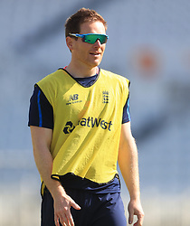 England's Eoin Morgan during the nets session at Trent Bridge, Nottingham.