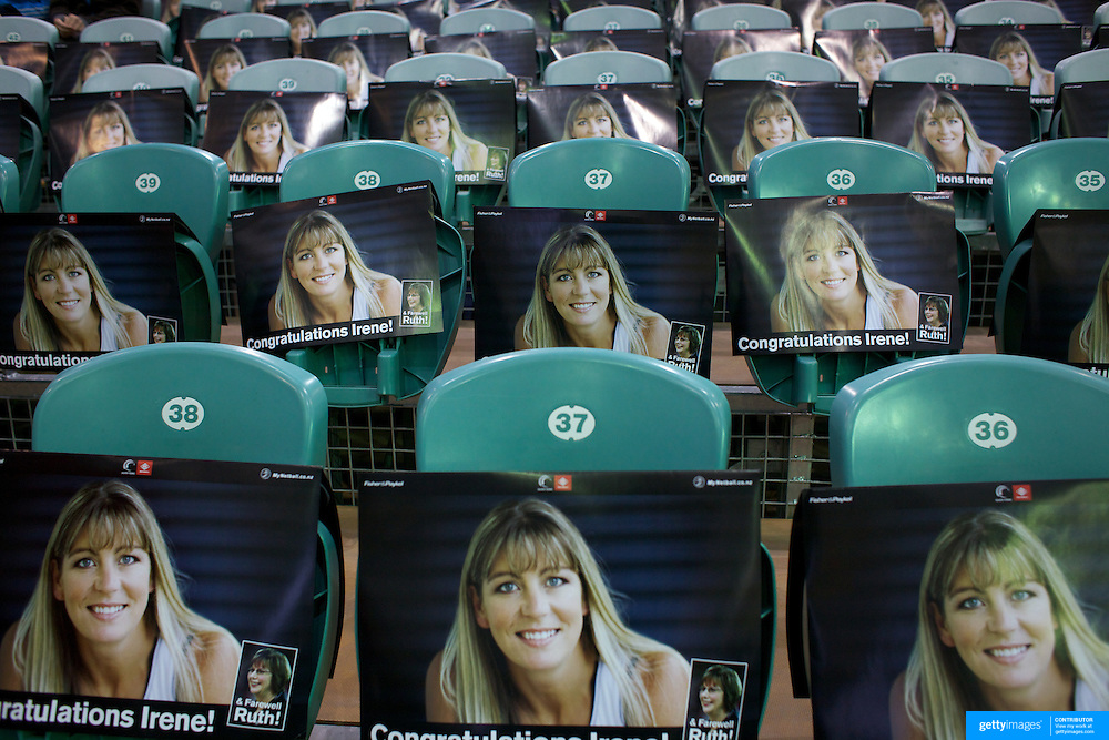Stadium seats with Irene van Dyk posters for fans arriving to see Irene van Dyk playing in her 200th test match during the New Zealand V England, New World International Netball Series, at the ILT Velodrome, Invercargill, New Zealand. 6th October 2011. Photo Tim Clayton...