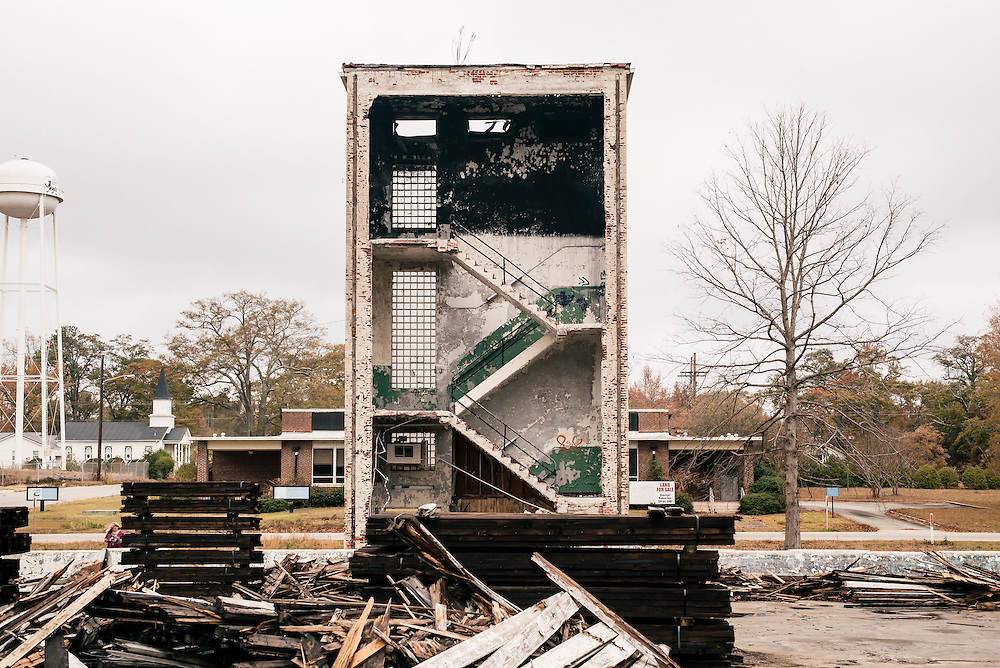 OPELIKA, AL – NOVEMBER 20, 2016: Pepperell Mill, which manufactured textiles, burned in 2013 after years of inactivity. <br /> <br /> In much of the United States, global trade and technological innovation has failed to produce the prosperity hoped for by political and business leaders. Yet despite formidable economic challenges, some localities are flourishing. In Lee County, Ala., unemployment is below the national average despite the loss of thousands of manufacturing jobs, and the key to the county's resilience may be Auburn University, which provided a steady source of employment during recessions and helped draw new businesses to replace those that fled. CREDIT: Bob Miller for The Wall Street Journal<br /> [RESILIENT]