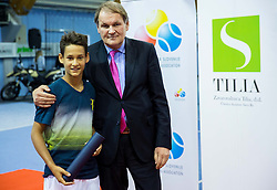 Tim Tekavec and Marko Umberger, president of TZS at Tennis exhibition day and Slovenian Tennis personality of the year 2013 annual awards presented by Slovene Tennis Association TZS, on December 21, 2013 in BTC City, TC Millenium, Ljubljana, Slovenia.  Photo by Vid Ponikvar / Sportida