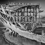 Peter Iredale Shipwreck Wide Port View - Sunset - Oregon Coast - HDR - Infrared Black & White