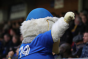 Haydon the Womble with arm in air during the The FA Cup match between AFC Wimbledon and Lincoln City at the Cherry Red Records Stadium, Kingston, England on 4 November 2017. Photo by Matthew Redman.