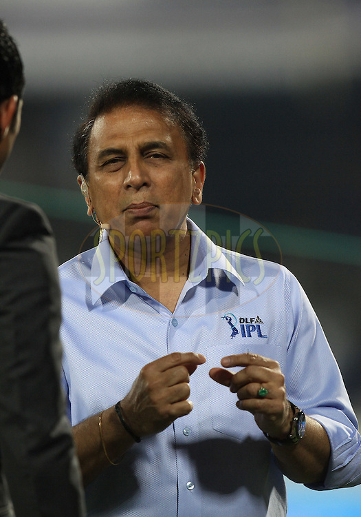Ex-cricket player Sunil Gavaskar speaks on television during match 11 of the Indian Premier League ( IPL ) between the Deccan Chargers and the Royal Challengers Bangalore held at the Rajiv Gandhi International Cricket Stadium in Hyderabad on the 14th April 2011...Photo by Parth Sanyal/BCCI/SPORTZPICS