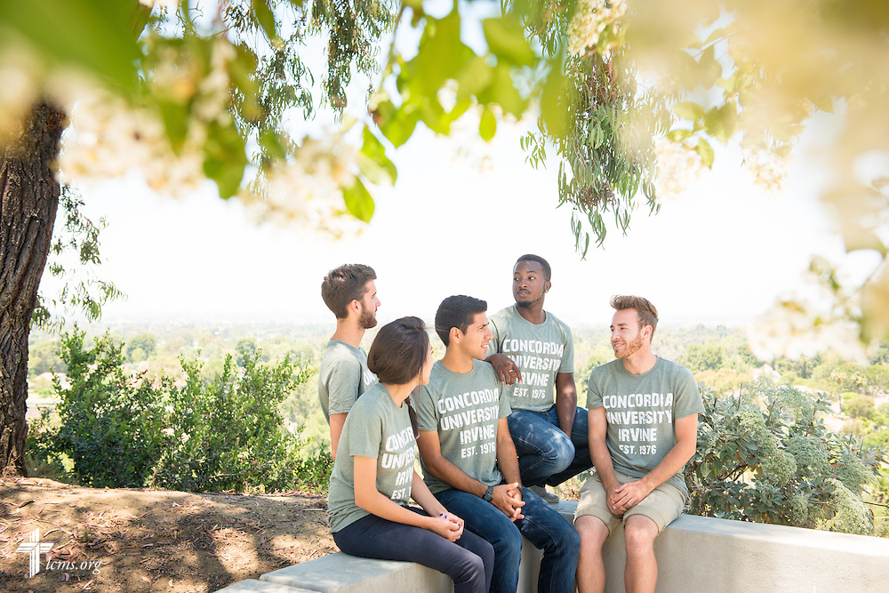A portrait of campus ambassadors (L-R) Michelle Martir, Braden Delannoy, David Diaz, Wesley Barnes, and Jacob Schott on the campus of Concordia University Irvine on Wednesday, July 9, 2014, in Irvine, Calif. LCMS Communications/Erik M. Lunsford