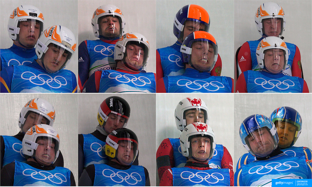 Winter Olympics, Vancouver, 2010..The Luge Brothers..Closeness in sport is often found in team environments. But no sport has a closeness like the Luge doubles where one partner is laying on top of the other while trust and teamwork are paramount for survival. The twenty team Luge doubles competition at the Winter Olympics in Vancouver includes three sets of brothers and a pair of cousins emphasizing the need for closeness. These expressions of the athletes are caught on bend sixteen where the luge is traveling often in excess of 130 Km an hour. ...Top row, from left, Paul Ifrim and Andrei Anghel, Romania, Jan Harnis and Branislav Regec, Slovakia, Michail Kuzmich and Stanislav Mikheev, Russia, Vladislav Juzhakov and Vladimir Machutin, Russia...Front row, from left, Andris Sics and Juris Sics, Latvia, Patric Leitner and Alexander Resch, Germany, Chris Moffat and Mike Moffat, Canada, Mark Grimmette and Brian Martin, USA,  at the Whistler Sliding Centre, Whistler, during the Vancouver  Winter Olympics. 16th February 2010. Photo Tim Clayton