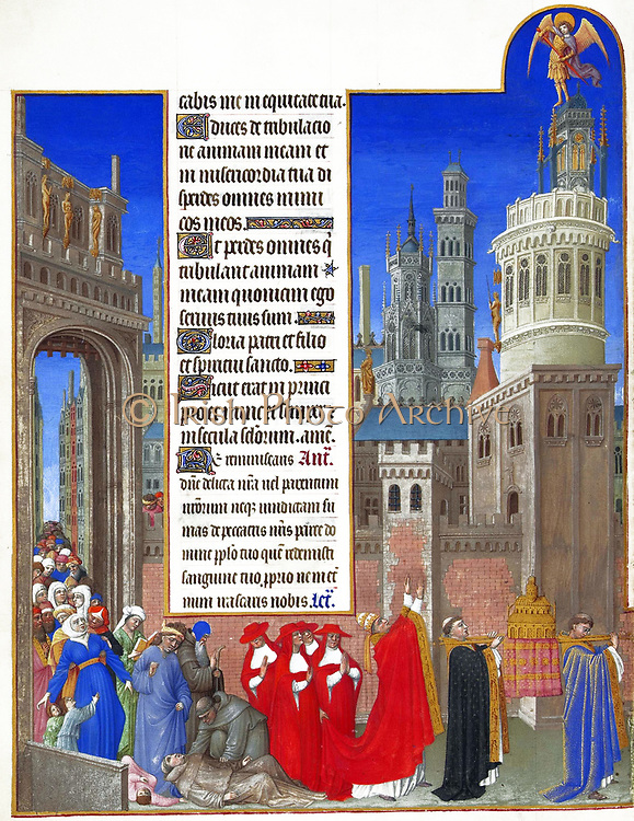 Folio 71v of Les Très Riches Heures du Duc de Berry depicts Gregory leading a procession around the city to plead for respite from the plague. One of the monks has fallen to the illness. Les Très Riches Heures is a magnificent book of hours painted in the 15th century by the Limbourg Brothers and completed by Jean Colombe