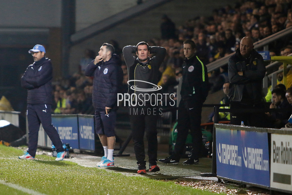 Burton manager Nigel Clough reacts during the first half of  the EFL Sky Bet Championship match between Burton Albion and Huddersfield Town at the Pirelli Stadium, Burton upon Trent, England on 13 December 2016. Photo by Richard Holmes.