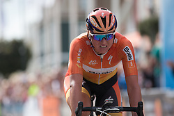 Chantal Blaak (NED) of Boels-Dolmans Cycling Team crosses the finish line at third place after the 141 km road race of the UCI Women's World Tour's 2016 Crescent Vårgårda women's road cycling race on August 21, 2016 in Vårgårda, Sweden. (Photo by Balint Hamvas/Velofocus)
