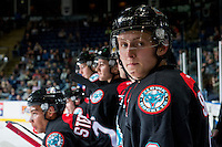 KELOWNA, CANADA - SEPTEMBER 28: Jonathan Smart #6 of Kelowna Rockets stands on the bench against the Prince George Cougars on September 28, 2016 at Prospera Place in Kelowna, British Columbia, Canada.  (Photo by Marissa Baecker/Shoot the Breeze)  *** Local Caption *** Jonathan Smart;