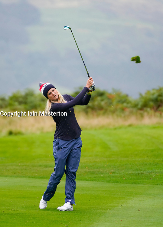 Auchterarder, Scotland, UK. 12 September 2019. Final practice day at 2019 Solheim Cup on Centenary Course at Gleneagles. Pictured; Lexi Thompson plays approach shot to 3rd hole. Iain Masterton/Alamy Live News