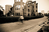 The Hiroshima Peace Memorial, commonly known as the Atomic Bomb Dome, a UNESCO World Heritage Site, located in Hiroshima, Japan.  The site is part of the Hiroshima Peace Memorial Park.  The building was the closest structure to the hypocenter of the August 6, 1945 nuclear explosion to withstand its force.  The building has been preserved in the same state it remained immediately after the bombing.