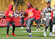 Jan 23, 2019; Kissimmee, FL, USA; Los Angeles Chargers running back Melvin Gordon (28), Cleveland Browns wide receiver Jarvis Landry (80) and New York Jets strong safety Jamal Adams during AFC practice for the 2019 Pro Bowl at ESPN Wide World of Sports Complex. (Steve Jacobson/Image of Sport)