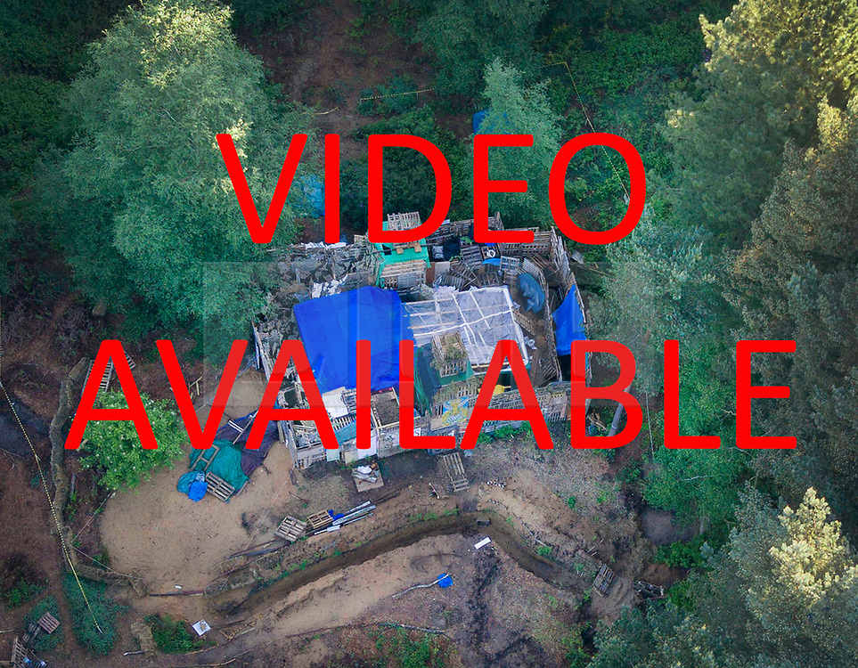 VIDEO AVAILABLE ON : https://tinyurl.com/yarslewr<br /> <br />   © Licensed to London News Pictures. 20/05/2017. Coldharbour, UK. The 'Protection Camp' on Leith Hill.  Protestors have constructed and occupied a fort and some trees on the site of a proposed oil well drilling rig. Planning permission for 18 weeks of exploratory drilling was granted to Europa Oil and Gas in August 2015 after a four-year planning battle. The camp was set up by protestors in October 2016 in order to draw  attention to plans to drill in this Area of Outstanding Natural Beauty (AONB) in the Surrey Hills. The camp has received support from the local community.  Photo credit: Peter Macdiarmid/LNP