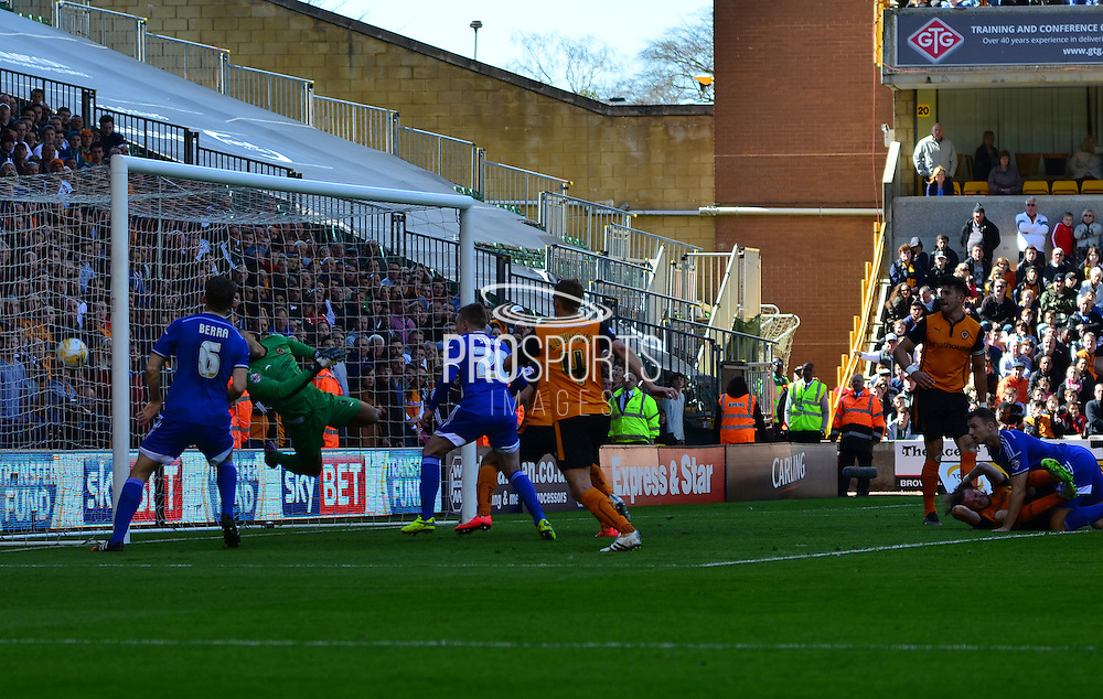 A Richard Stearman own goal gives Ipswich the lead during the Sky Bet Championship match between Wolverhampton Wanderers and Ipswich Town at Molineux, Wolverhampton, England on 18 April 2015. Photo by Alan Franklin.