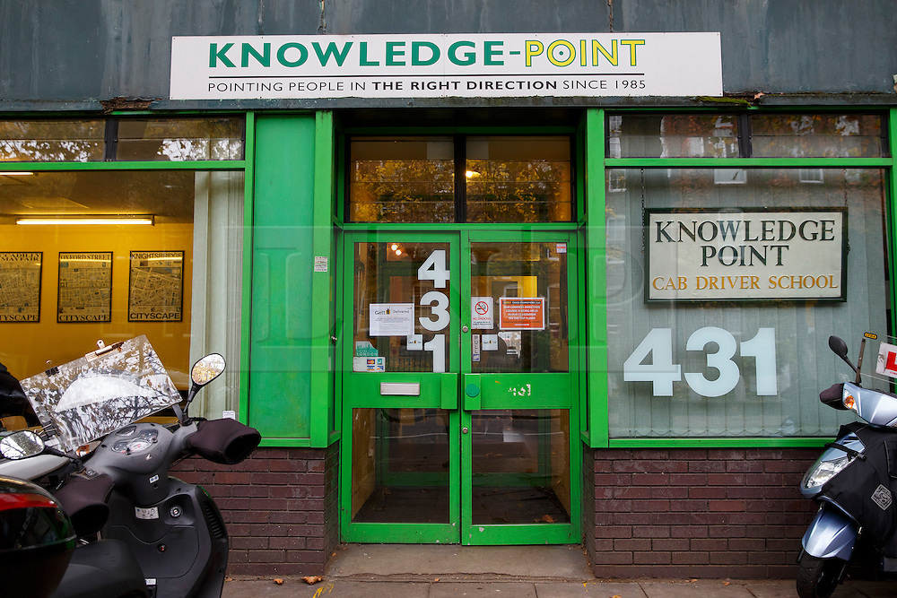 © Licensed to London News Pictures. 02/11/2015. London, UK. The Knowledge Point in Islington, London's largest training school for black cab drivers will close in December after 26 years due to rising property prices and falling demand from would-be taxi drivers after launch of taxi app Uber. Photo credit: Tolga Akmen/LNP