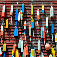 Vintage Lobster Trap Floats at Searsport, Maine<br />
