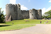 Walls of Chepstow Castle, Monmouthshire, Wales, UK