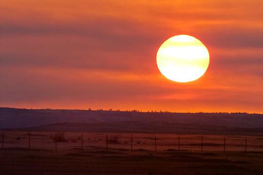 Sunset over Charles M. Russell National Wildlife Refuge. Montana. Summer.