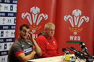 Wales capt Sam Warburton (l) and head coach Warren Gatland speak at the Wales rugby PC at the team hotel in Hensol, near Cardiff, South Wales on Wed 19th Feb 2014.<br /> pic by Andrew Orchard, Andrew Orchard sports photography.