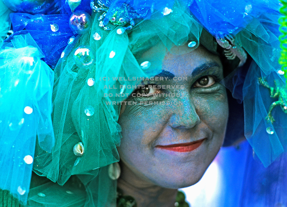 Image of Mardi Gras celebration in the French Quarter of New Orleans, Louisiana, American South