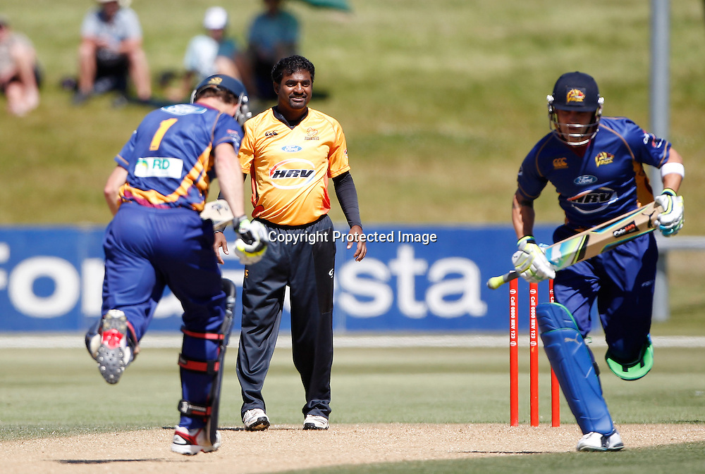 Firebirds Muttiah Muralidharan is hit about during the Twenty20 Cricket - HRV Cup, Otago Volts v Wellington Firebirds, Saturday 31 December 2011, Queenstown Events Centre, Queenstown, New Zealand. Photo: Michael Thomas/photosport.co.nz
