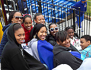 Hampton University Lady Pirate's Basketball Team enjoying the cold weather during Hampton's doubleheader split against Morgan State at the Lady Pirates Softball Complex on the campus of Hampton University in Hampton, Virginia.  (Photo by Mark W. Sutton)