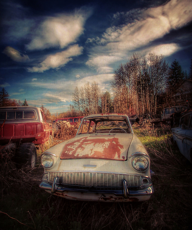 Abandoned Ford Anglia car in USA
