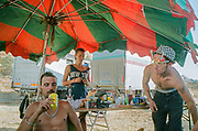 Chilling under umbrella,Falougha, Lebanon 2010