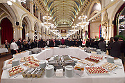 Vienna, Austria. Cocktail reception hosted by Mayor Michael Häupl at City Hall for international scientists and researchers living and working in Vienna.<br /> The buffet.