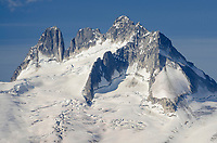 Howser Towers, Vowell Glacier, Bugaboos in the distance. Bugaboo Provincial Park Purcell Mountains British Columbia.