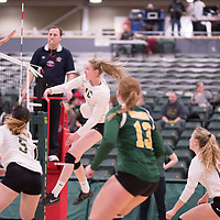 2nd year middle blocker Brooklyn Reynolds (10) of the Regina Cougars in action during Women's Volleyball home game on February 9 at Centre for Kinesiology, Health and Sport. Credit: Arthur Ward/Arthur Images