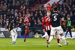David McGoldrick of Sheffield United shoots at goal - Mandatory by-line: Robbie Stephenson/JMP - 24/11/2019 - FOOTBALL - Bramall Lane - Sheffield, England - Sheffield United v Manchester United - Premier League