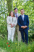 Stephen Fry, Caroline Quentin and Rowan Atkinson on the No Man's Land:ABF The Soldier's Charity Garden. The Chelsea Flower Show 2014. The Royal Hospital, Chelsea, London, UK.