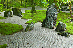 Detail of dry zen garden at Dazaifu Komiyo-Ji Temple Fukuoka Japan