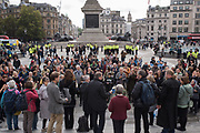 Defying protest ban in Trafalgar Sq. Shortly after the Extinction Rebellion camp and been evicted. London. 15 October 2019