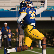 11/12/11 Newark DE: Delaware Wide receiver Michael Johnson #36 attempts to catch the pass during warm ups prior to a Week 10 NCAA football game against Richmond.<br /> <br /> Special to The News Journal/SAQUAN STIMPSON