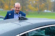 Scott Wallace, the Democratic congressional candidate in the first district leaves after voting Tuesday, November 06, 2018 at Buckingham Township Building in Buckingham. [WILLIAM THOMAS CAIN / PHOTOJOURNALIST]