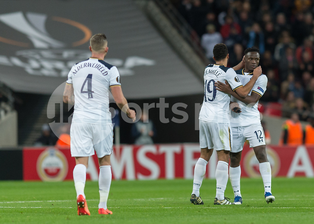 Victor Wanyama of Tottenham Hotspur celebrates scoring Tottenham's second goal during the UEFA Europa League  Round of 32 Game 2 match between Tottenham Hotspur and Gent at Wembley Stadium, London, England on 23 February 2017. Photo by Vince  Mignott.