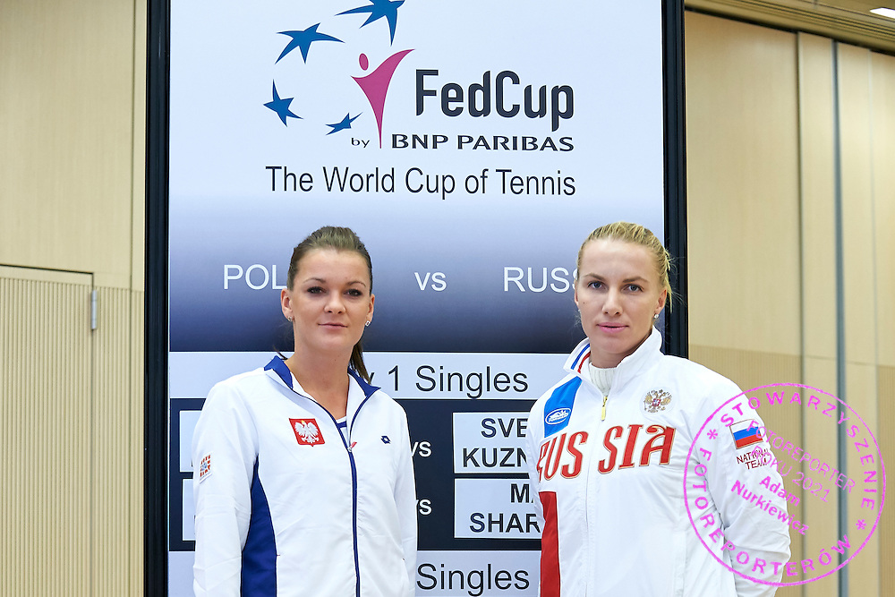 (L) Agnieszka Radwanska from Poland and (R) Svetlana Kuznetsova from Russia during official draw one day before the Fed Cup / World Group 1st round tennis match between Poland and Russia at Holiday Inn on February 6, 2015 in Cracow, Poland.<br /> <br /> Poland, Cracow, February 6, 2015<br /> <br /> Picture also available in RAW (NEF) or TIFF format on special request.<br /> <br /> For editorial use only. Any commercial or promotional use requires permission.<br /> <br /> Adam Nurkiewicz declares that he has no rights to the image of people at the photographs of his authorship.<br /> <br /> Mandatory credit:<br /> Photo by &copy; Adam Nurkiewicz / Mediasport